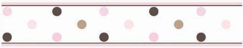 Sweet Jojo Designs Pink and Brown Mod Dots Baby, Childrens and Teens Wall Paper Border