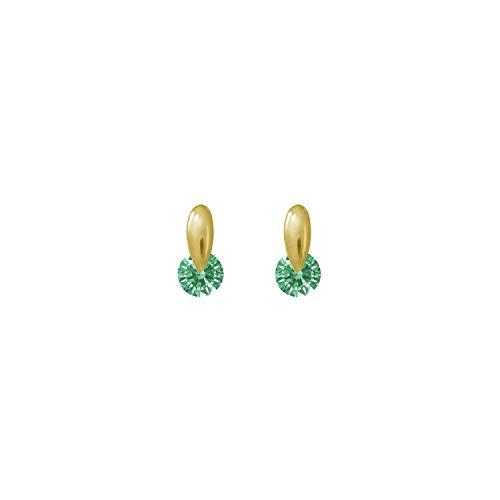 (J'ADMIRE 14K Yellow Gold 3mm Round Cut Fancy Green Swarovski Zirconia Drop Stud Earrings)