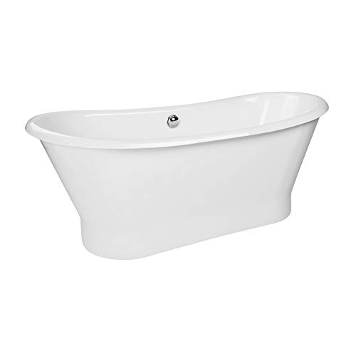 "MAYKKE Montebello 70"" Transitional Oval Cast Iron Bath Tub Freestanding Bathtub White Slipper Tub for Bathroom Drain and Overflow Assembly Included, cUPC Certified BQA1027001"