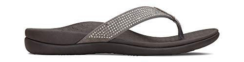 (Vionic Women's Tide Rhinestones Toe-Post Sandal - Ladies Flip-Flop with Concealed Orthotic Arch Support Pewter 12 M US)