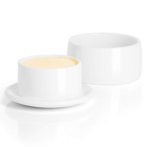 Porcelain Butter Crock, French Butter Keeper - Fresh Soft Butter without Refrigeration, White - Better Butter & Beyond