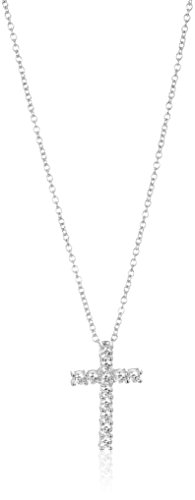 (Platinum-Plated Sterling Silver Cross Pendant Necklace set with Swarovski Zirconia (1 cttw), 18
