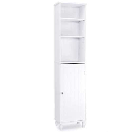 Pro-G Tower Bath Cabinet Pine Wood 4 shelve Display Cabinet Bathroom Storage Any Room High 63