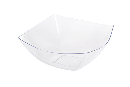 Blue Sky, Square Unbreakable Clear Plastic Serving Bowls, 32 Ounce, Set of 5, Party Snack or Salad (Clear Plastic Serving Bowls)