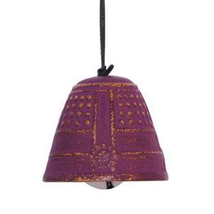 Wind Bell Japanese Cast Iron Windchime - Temple Bell in Violet & Gold
