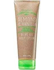 Bath and Body Works Almond Vanilla Body Cream 8 Ounce Tan and Green Tube