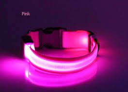 Felt Lined Cat Collar - LED USB Rechargeable Nylon Dog Collar (Xl, Pink)