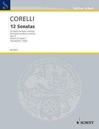 (SCHOTT CORELLI ARCANGELO - 12 SONATAS OP. 5 BAND 2 - VIOLIN AND HARPSICHORD ; CELLO AD LIB. Partition classique Cordes Violon)