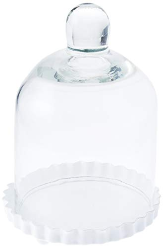 Miniature Glass Bell Jar with White Fluted Base ()