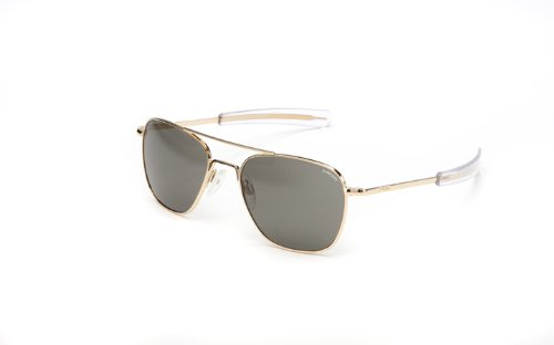 c8ab1b179b Randolph Aviator Polarized Sunglasses,23K Gold Plated/Grey 55 mm
