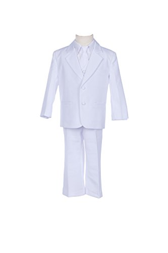 [White Boy Teen Tuxedo Suit Formal 5-Piece Set for Wedding Pageant tie 6] (Pageant Suits)
