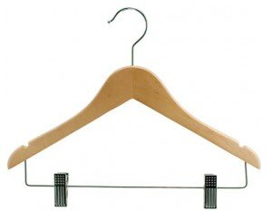 Wooden Junior Combo Hanger, Natural Finish with Chrome Hardware, Box of 100 by The Great American Hanger Company by The Great American Hanger Company