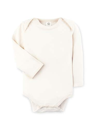 Colored Organics Unisex Baby Organic Cotton Bodysuit - Long Sleeve Infant Onesie - Natural - 12-18M (Best Natural Baby Cream)
