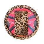 Animal Print Steering Wheel Cover and Shoulder Pad - Leopard