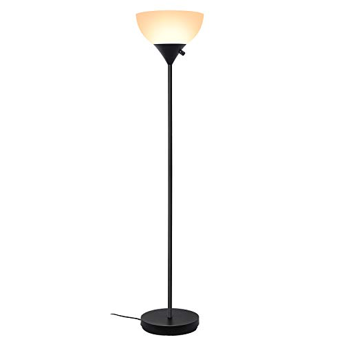 SUNLLIPE Floor Lamp 70 inches Plastic Shade Modern Sturdy Standing Uplight 9W Energy Saving LED Torchiere Lamp (Warm Light)