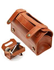 Men's Shaving Brush & Razor Toiletry Case, PU Leather Bag Fashion Men's Portable Cosmetic Pouch Brown