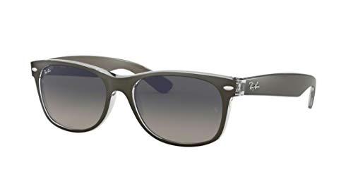 Ray-Ban RB2132 New Wayfarer Gradient Unisex Sunglasses (Brushed Gunmetal onTransparent Frame/Grey Gradient Dark Grey Lens 614371, 52) (Ray-ban Rb2132)