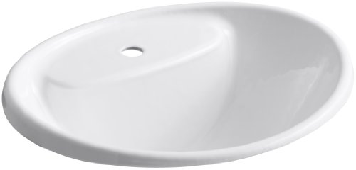 - Kohler K-2839-1-0 Cast Iron Drop-In Oval Bathroom Sink, 21.875 x 19.25 x 11.625 inches, White