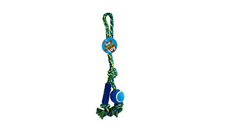 Dog Rope Toy with Ball and Rubber Spikes, Case of 24