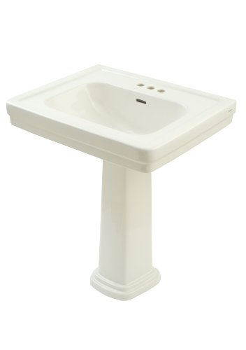 TOTO LPT530.4N#11 Promenade Lavatory and Pedestal with 4-Inch Centers, Colonial White, Wide Basin