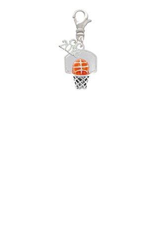 Mini Enamel Basketball - 3-D Enamel Basketball in Hoop Mini 2018 Clip On Charm