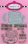 Animal Monkey Stamps and Card Making Dies for Scrapbooking and DIY Crafts by The Stamps of Life - Monkey Pudgie