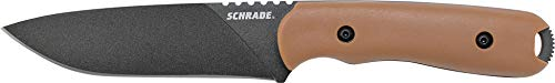 Schrade SCHF42D Frontier 10in Steel Full Tang Fixed Blade Knife with 3.6in Drop Point and Grivory Handle for Outdoor Survival, Camping and Bushcraft