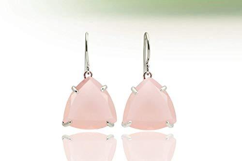 (Pink chalcedony earrings,pink earrings,silver earrings,sterling earrings,trillion earrings,triangular earrings,hook earrings)