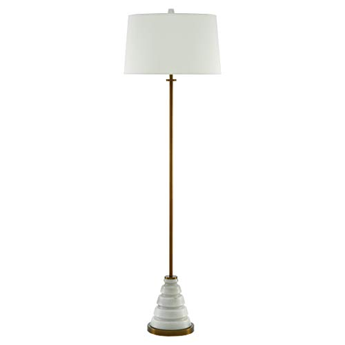 Kathy Kuo Home Culver Modern Classic White Marble Brass Floor Lamp