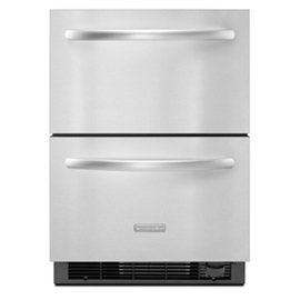 Architect Series Ii Kddc24cvs 4 8 Cu  Ft  Capacity Double Drawer Refrigerator Freezer Electronic Controls Interior Led Lights Factory Installed Automatic Ice Maker  Stainless Steel