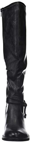 Nero Nero Nero Scarponi Grigio CM finitura finitura finitura vintage blocco Moda fibbia cuciture a 5 Stivali Foderato impunture Tacco donna zip di Pelliccia alto Scarpe cavalier stile Angkorly tx4wgqBn