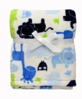 Baby Boy Safari Velour Blanket White, Green and Blue Blue Velour Blanket