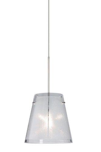 Besa Lighting RXP-4477GL-SN Amelia 6 Collection 1-Light Rail-Ready Mini-Pendant, Satin Nickel Finish with Glitter Art Glass Shade and Satin Nickel Rail Adapter - Sn Amelia 6 Satin