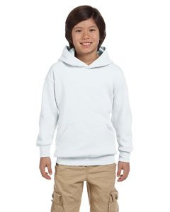 (Hanes 7.8 oz Youth COMFORTBLEND EcoSmart Fleece Pullover Hood White XL)
