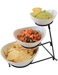 (3 Tier Oval Chip And Dip Set Party Food Server Display Set Three Tiered Snack Server with metal)
