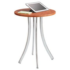 -- Decori Wood Side Table, Round, 25-3/4'' Dia., 25-3/4'' High, Cherry/Silver by MOT3