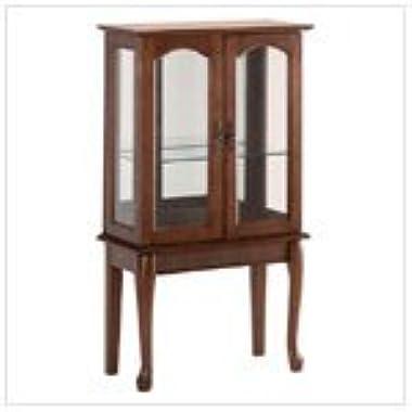 Birch Veneer Simply Elegant Wood Glass Curio Cabinet