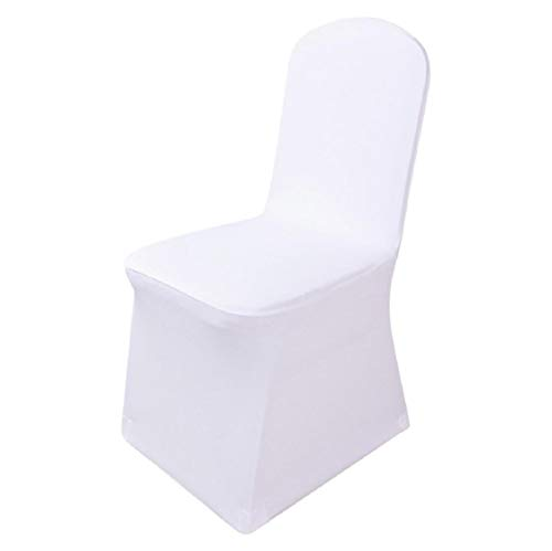 Boddenly White Color Universal Size Polyester Spandex Banquet Wedding Party Decoration Stretch Dining Chair Covers, Stretch Wedding Chair Bands Folding Decoration For Wedding, Banquet, Party, 2 Sizes