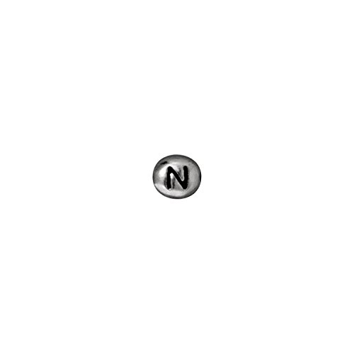 TierraCast Letter N, 6x7mm, Antique Rhodium Plated Pewter, 6-Pack