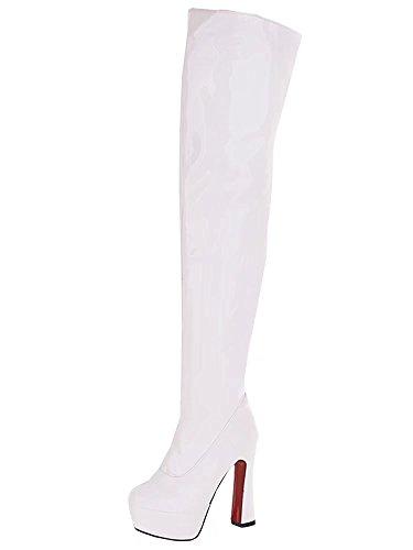 mit Warm Absatz Elegant Plateau Weiß Damen Dicker Schuhe AIYOUMEI Lack Overknee Stiefel Winter Langschaftstiefel qYRpvwE