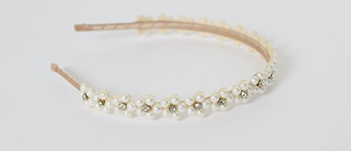 Beige Great Gatsby / Flapper Inspired Fashion Headband / Hairband with Rhinestones & Faux Pearls