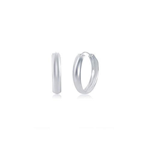 (UniqueLinks 925 Sterling Silver High Polished Lightweight – Flat Snap Down Hoop Earrings - Choose a Diameter 16mm,30mm,40mm (16mm Diameter))
