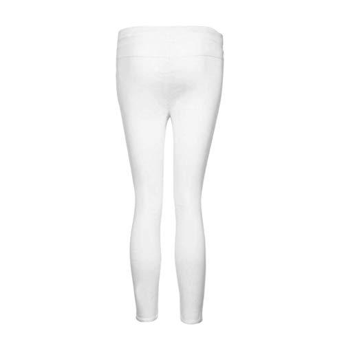 Moderno Con De Vaqueros Mujeres Colores Alta Cintura Lápiz Pantalones Blanco Bolsillos Estiramiento Las Rasgado Sólidos Casuales Agujero Cordón z7gBqx