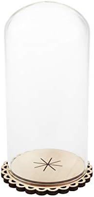 VBS Glasdom Glasglocke mit Holzboden 3-tlg. Glashaube 17cm hoch Glassturz Uhrenschutz Käseglocke Haube