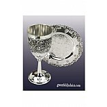 Mini Kid's Kiddush Cup Grape Design on Base and Matching Coaster