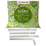 "TRUECONE (200 Count) BIG Bubble Tea Jumbo Straws 10""x0.43""(11mm). WIDE Boba Straws, Individually Wrapped, Transparent. Flexible Bendy Tops, Angled Ends. LARGE FAT Drinking Straws for Smoothies"