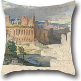 Oil Painting Carl Rottmann - The Ruins Of The Imperial Palaces In Rome Throw Pillow Case 20 X 20 Inches / 50 By 50 Cm For Bar,wedding,office,home Theater,son,valentine With 2 Sides