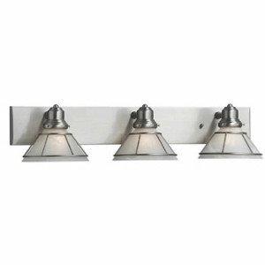 Dolan Designs 3 Light (Dolan Designs 633-09 Craftsman 3 Light Bathroom Fixture, Satin Nickel)