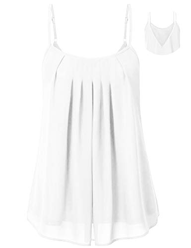 Cyanstyle Womens Camisoles and Tanks V Neck Fowly Swing Tunic Tops Spaghetti Strap Casual Summer Stretch Beach Relax Fit Fashion Comfy Camis Sleeveless Shirts for Work Office White L - Spaghetti Shell Strap
