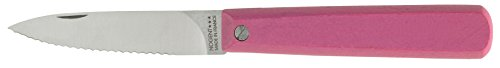 Nogent Le Pocket Folding Paring Kitchen Knife, Made in France, Serrated Edge, Hardwood Handle, Rose Pink, 3.15-Inch Carbon Steel Blade by Nogent